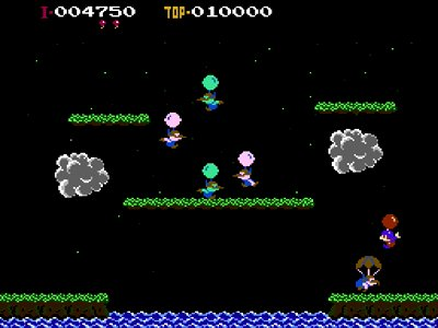 Gameplay screenshot of Balloon Fight on NES Classic Edition.
