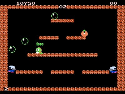 Gameplay screenshot of Bubble Bobble on NES Classic Edition.
