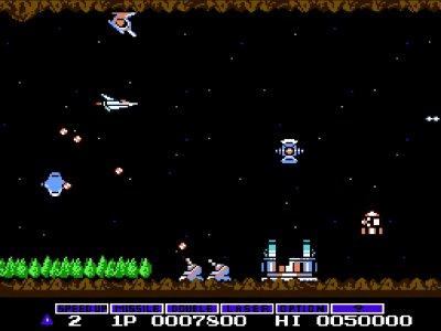 Gameplay screenshot of Gradius on NES Classic Edition.