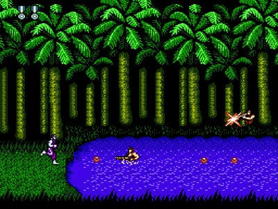 Gameplay screenshot of Super C on NES Classic Edition.