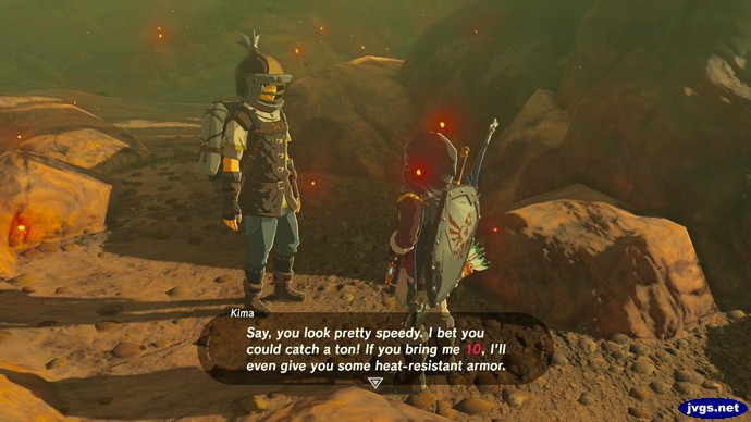 Kima: Say, you look pretty speedy. I bet you could catch a ton! If you bring me 10, I'll even give you some heat-resistant armor.