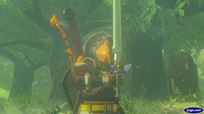 Link pulls out the Master Sword in The Legend of Zelda: Breath of the Wild for Nintendo Switch.