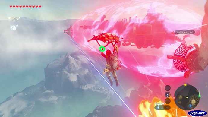 Flying to Divine Beast Vah Medoh in The Legend of Zelda: Breath of the Wild.