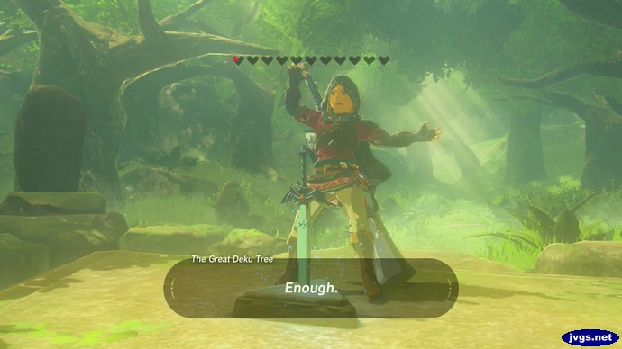 Failing to pull out the Master Sword in The Legend of Zelda: Breath of the Wild for Nintendo Switch.