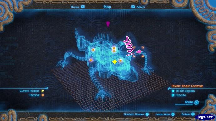 The map of Divine Beast Vah Rudania in Zelda: Breath of the Wild.