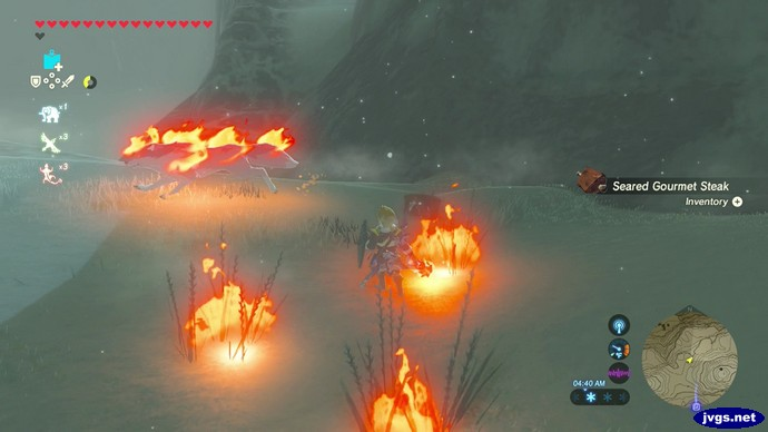 A burning wolf runs away from me in The Legend of Zelda: Breath of the Wild for Nintendo Switch.