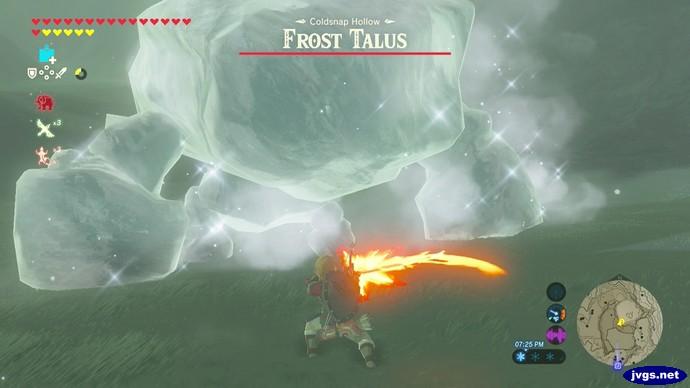 Fighting the Frost Talus in Zelda BOTW.