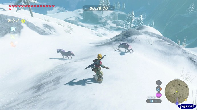 Shield surfing down a mountain in The Legend of Zelda: Breath of the Wild for Nintendo Switch.