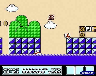 The beige sky in Super Mario Bros. 3.
