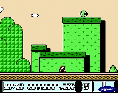 Green structures in World 3-7 of Super Mario Bros. 3.