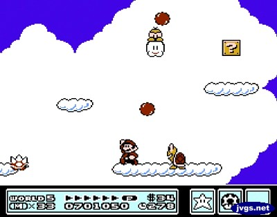 Lakitu throws Spinies at me in Super Mario Bros. 3.