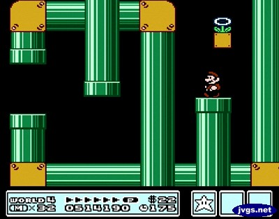 A pipe maze in the second fortress of World 4 in Super Mario Bros. 3.