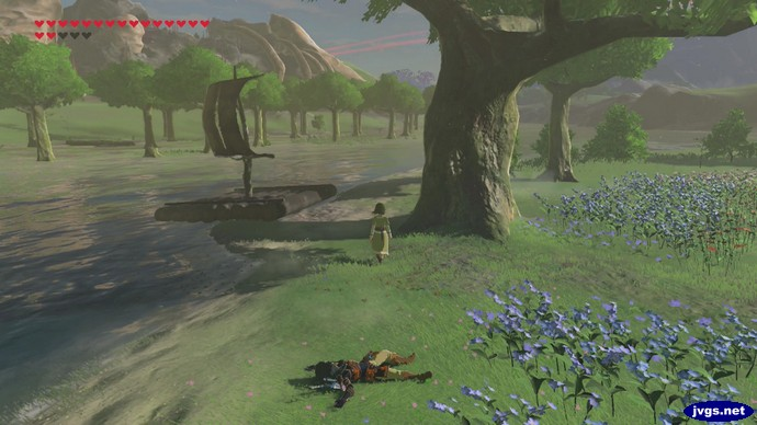 Link lies flat on the ground after a beating from Magda in The Legend of Zelda: Breath of the Wild for Nintendo Switch.