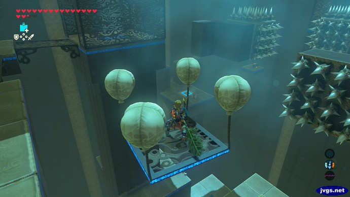 A floating platform held up by balloons approaches some spikes in Zelda: Breath of the Wild.
