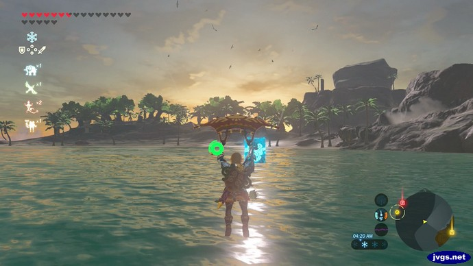 Paragliding to Eventide Island in The Legend of Zelda: Breath of the Wild (BOTW).