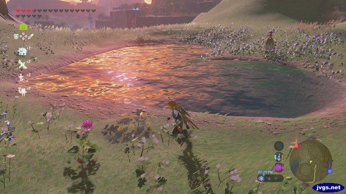 A heart-shaped lake in The Legend of Zelda: Breath of the Wild for Nintendo Switch.