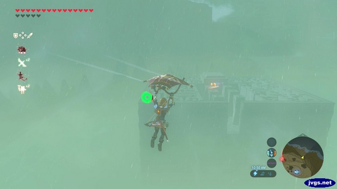 Soaring towards the Lomei Labyrinth in Breath of the Wild.