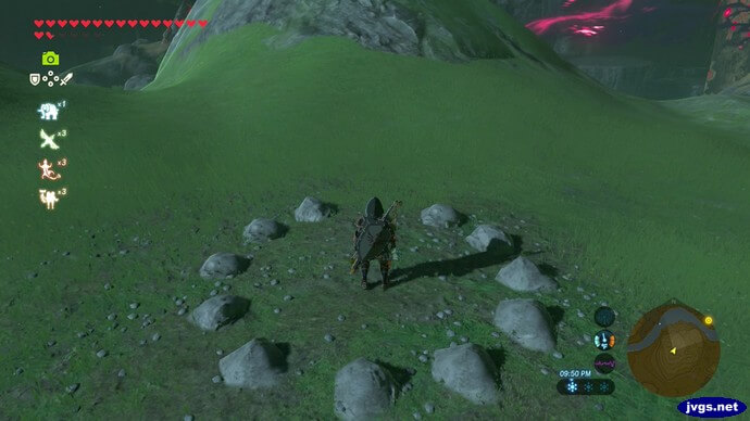 A round rock formation in The Legend of Zelda: Breath of the Wild for Nintendo Switch.