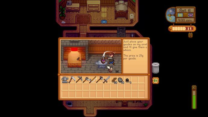The blacksmith smashes open a geode in Stardew Valley.