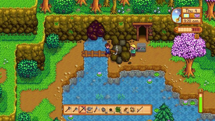 Rocks blocking the path to the mines in Stardew Valley.