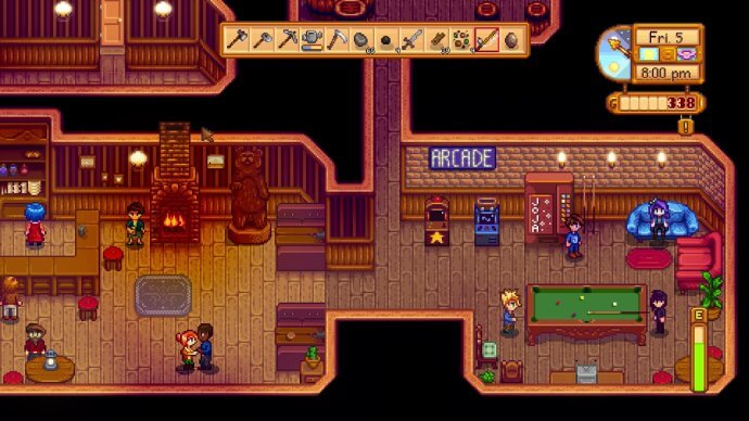 A busy night in the saloon in Stardew Valley.