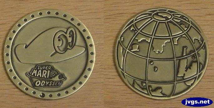 Both sides of the Super Mario Odyssey collectible coin.
