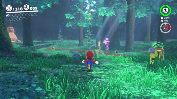 Running through the forest in Super Mario Odyssey.
