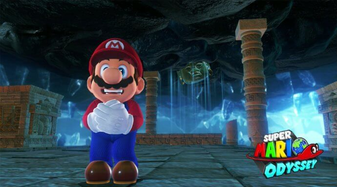 Mario is afraid. Picture taken in Super Mario Odyssey.