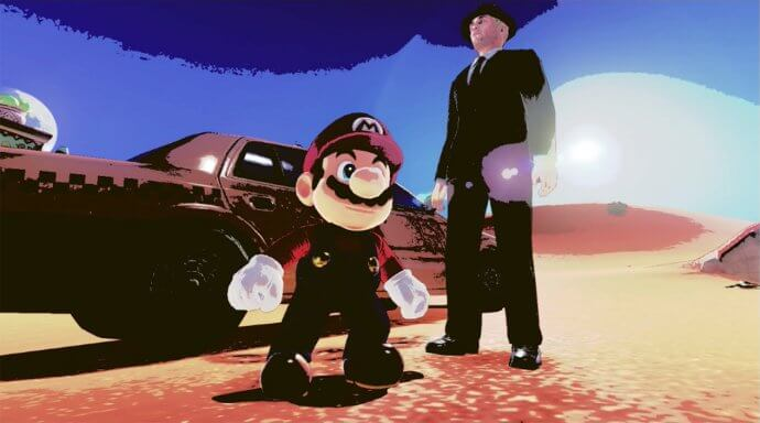 Mario and a taxi driver. Picture taken in Super Mario Odyssey.