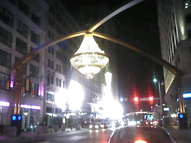 The outdoor chandelier at Playhouse Square in Cleveland.