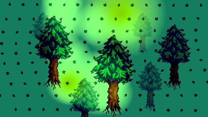 Seeing trees and leaves as I hallucinate in Stardew Valley.