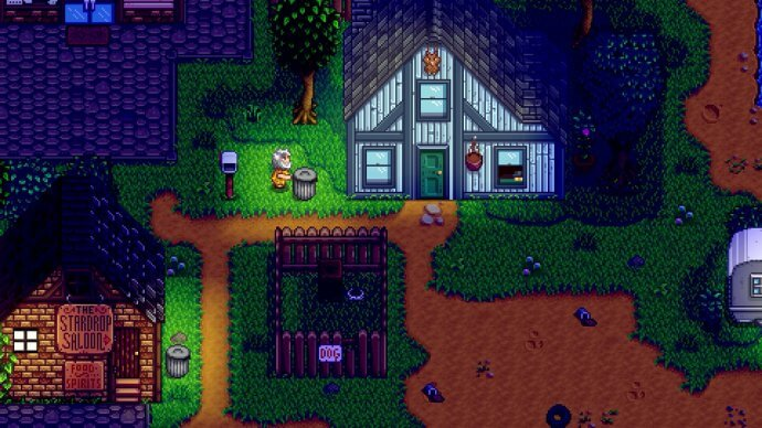 Linus digs through a garbage can for food in Stardew Valley.