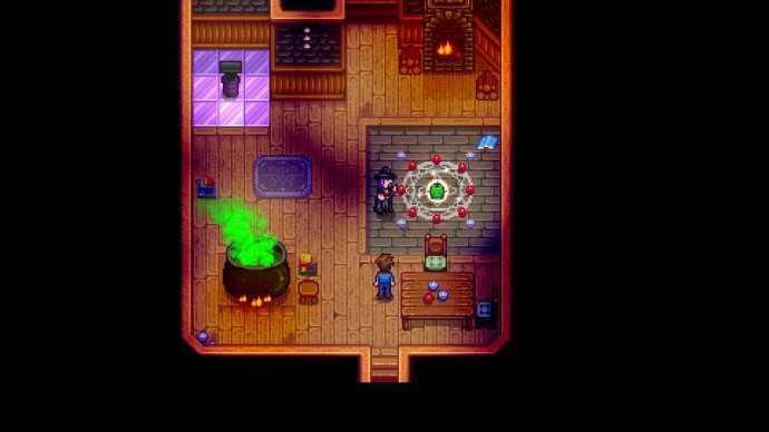 The wizard and his junimo ghost in Stardew Valley.