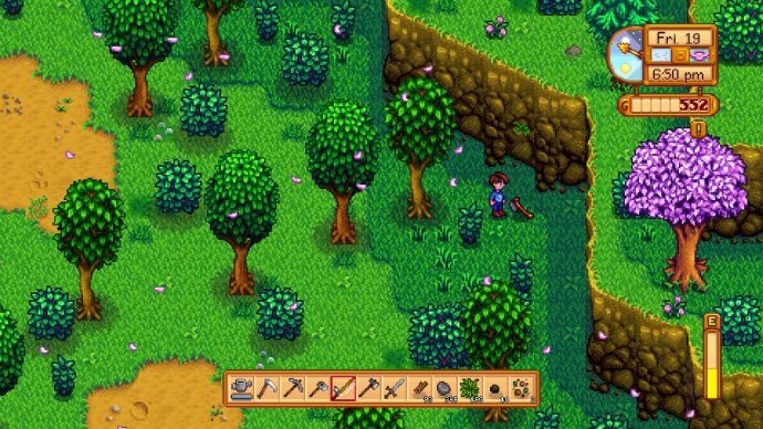 Finding Robin's lost axe in the woods (Stardew Valley).