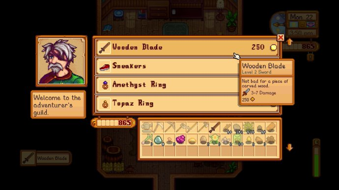 Buying the wooden blade sword at the adventurer's guild in Stardew Valley for Nintendo Switch.