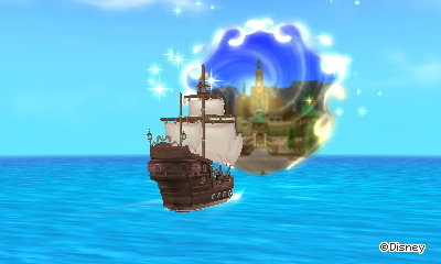 Taking a boat to the Frozen world in Disney Magical World 2.