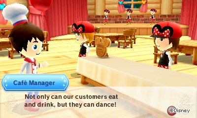Cafe manager: Not only can our customers eat and drink, but they can dance!
