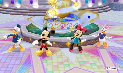 Donald Duck, Mickey Mouse, Minnie, and Daisy dance for me in Disney Magical World 2.