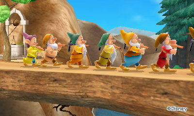 The seven dwarfs walk by.