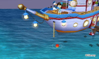 Fishing from Donald's boat in Disney Magical World 2.