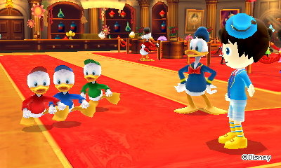 Huey, Duey, Louie, and Donald Duck in McDuck's.