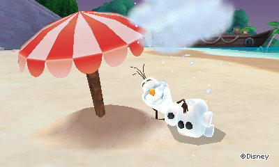 Olaf from Frozen napping on the beach.