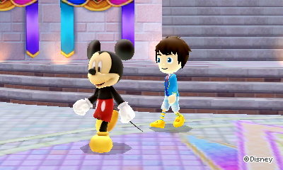 Mickey Mouse slowly plods along as I follow him to my house in DMW2.