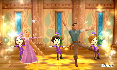 Dancing with Rapunzel and Flynn in the cafe.