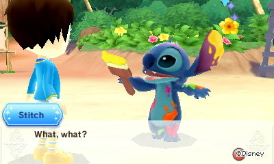 Stitch, holding a paintbrush: What, what?