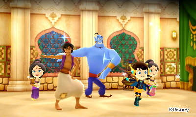 Aladdin and Genie dance in my cafe.