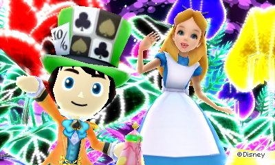 Posing with Alice in Wonderland in an odd dream in Disney Magical World 2.