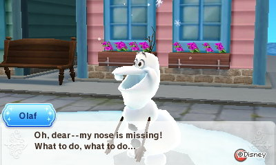 Olaf: Oh, dear--my nose is missing! What to do, what to do...