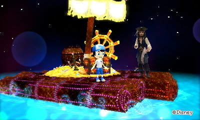 Riding a raft with Captain Jack Sparrow in Disney Magical World 2.