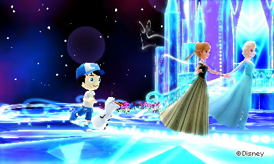 Ice skating with Elsa, Anna, and Olaf in the Frozen dream world of Disney Magical World 2.